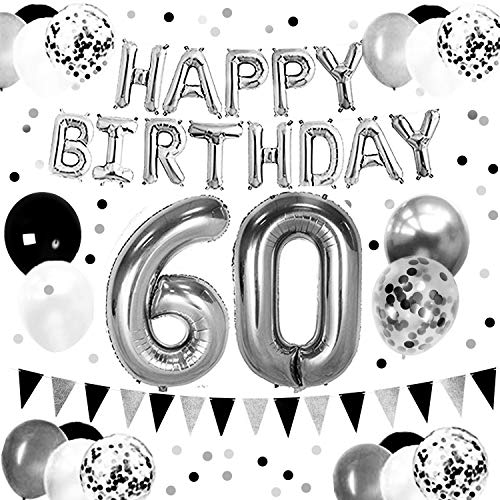 DOYOLLA Black and Silver 60th Birthday Party Supplies for Men, 60 Anniversary Decorations - Happy Birthday Banner, Paper Garland, 60 Number Balloons, Glitter Confetti - Perfect as Photo Booth -