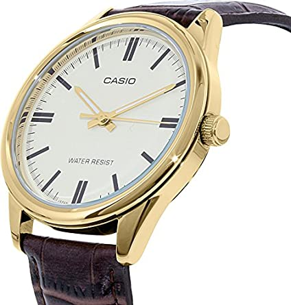 Casio MTP-V005GL-9A Men s Gold Tone Brown Leather Watch Gold Dial