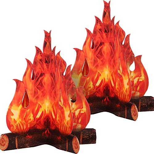 3D Decorative Cardboard Campfire Centerpiece Artificial Fire Fake Flame Paper Party Decorative Flame Torch (2 Set)]()