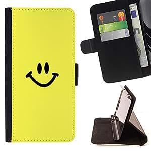BullDog Case - FOR/Samsung Galaxy Core Prime / - / Happy Smiley Face /- Monedero de cuero de la PU Llevar cubierta de la caja con el ID Credit Card Slots Flip funda de cuer