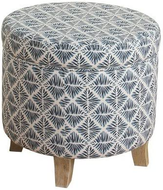 HomePop Cole Classics Round Storage Ottoman Flared Wood Leg