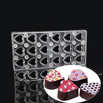Forma de Corazón con espejo claro magnético policarbonato PC Chocolate hoja rígida de plástico imán transferencia hecho a mano DIY molde moldes: Amazon.es: ...