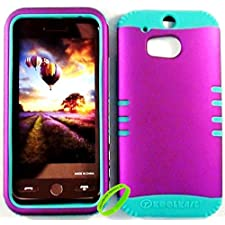 Cellphone Trendz Heavy Duty High Impact Hybrid Rocker Case Cover for HTC One M8 – Teal Silicone With Hard Purple Snap