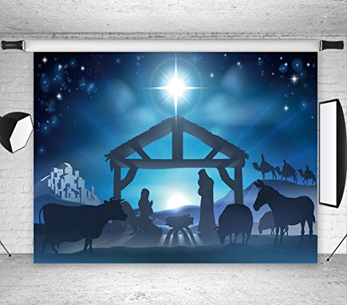 LB Birth of Jesus Backdrop for Photography 7x5ft Poly Fabric Christmas Night Manger Nativity Background Farm Barn Stable Christian Backdrop Customized Photo Background Studio Props -