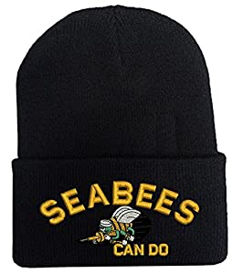 SEABEES Can do logo Military Law Enforcement Fold Long Cuff Beanie hats by Military