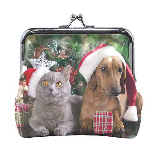 JERECY Chrismas Hats Cat Dogs Gifts Coin Purse Leather Mini Clutch Pouch Wallet for Women Girls -
