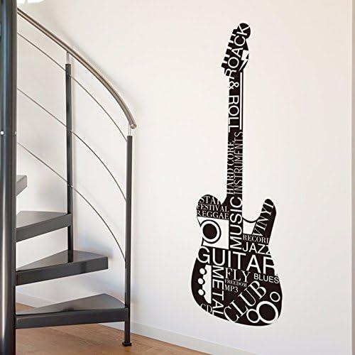 Salón escalera ornamento de pared guitarra creativa texto adhesivo ...