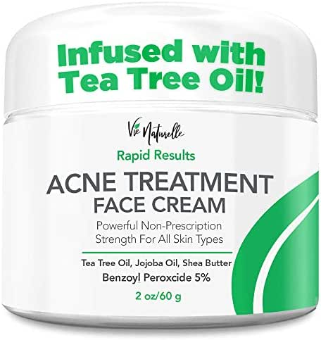 Acne Treatment Cream - Benzoyl Peroxide 5% - Topical Anti Pimple Medication for Cystic Acne Spot Treatment - Tea Tree Oil for Acne with Witch Hazel, Jojoba Oil, Almond Oil, and Shea Butter