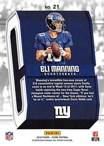 ab6113bcd Amazon.com  2018 Score Captains  21 Eli Manning New York Giants Football  Card  Collectibles   Fine Art