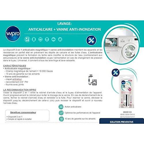 Wpro Mwb102 Anti Fuite Et Anticalcaire Pour Votre Lave Linge Ou Lave