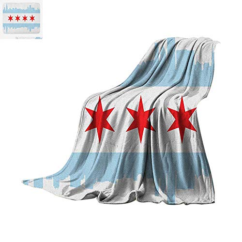 Chicago Skyline Throw Blanket City of Chicago Flag with High Rise Buildings Scenery National Print Artwork Image 60