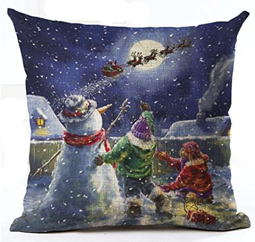 Retro Oil Painting Adorable Christmas Snowman And Child Baby Vigil Merry Christmas Gifts Cotton Linen Throw Pillow Case Personalized Cushion Cover NEW Home Indoor Decorative Square 18 X 18 (Linen Personalized Baby Pillow)