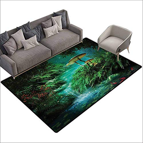 Slip-Resistant Washable Entrance Doormat Fantasy House Decor,View of Fantasy River with A Pond,Fish and Mushroom in Jungle Trees Moss Eden,Green Orangel Red 48