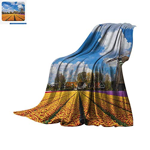 Windmill Super Soft Lightweight Blanket Tulips of Holland Countryside Landscape in Springtime with Rustic Houses Print Custom Design Cozy Flannel Blanket 62
