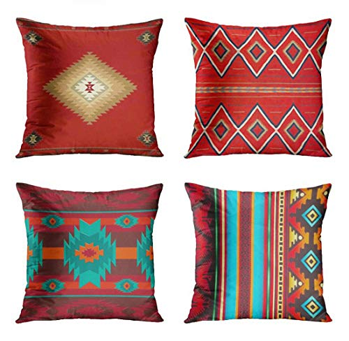 Western Throw Pillows (ArtSocket Set of 4 Throw Pillow Covers South Southwest Western Tribal Red Native Indian Home Cultural Geometric Hue Country Decorative Pillow Cases Home Decor Square 18x18 Inches)