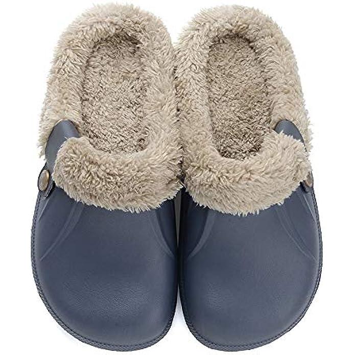 Aconhop Clog Slippers Fluffy Fleece Lined Winter Indoor Outdoor Non-Slip House Home Slip on Garden Shoes Men Women