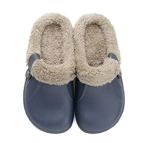 Clogs Shoes Fur Lined Slippers Winter Breathable Indoor Outdoor Walking Warm Non-Slip House Shoes Men Women Blue 42-43