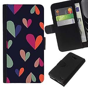 KLONGSHOP // Tirón de la caja Cartera de cuero con ranuras para tarjetas - corazón colorido negro limpio patrón verde azulado - LG OPTIMUS L90 //