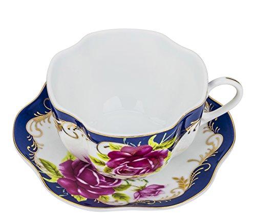 "Fine Porcelain ""Midnight Rose"" 5 Oz. Tea Cup and Saucer Set, Vintage Royal Coffee Cup Set, Ceramic Breakfast Tea Service, 6 Cups + 6 Saucers -"