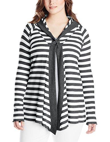 Calvin Klein Performance Women's Plus-Size One Button Thermal Stripe Cardigan, Pewter Heather/Slate, 1X