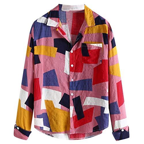 ANJUNIE Mens Ethnic Style Shirt Hawaiian Print Loose Slim Dress Shirt Daily Tops Blouse for Holiday(Pink,M)
