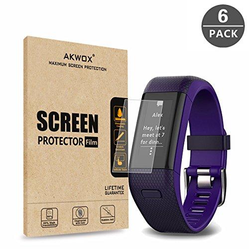 (Pack of 6) Garmin Vivosmart HR+ Screen Protector, Akwox [HD Clear][Anti-Glare][Anti-Bubble] Full Coverage TPU Screen Protective Film for Garmin Vivosmart HR+
