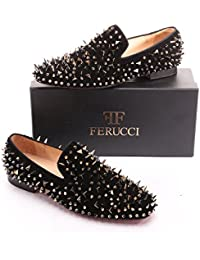 Men Black Velvet Slippers Loafers Flat With Gold Spikes