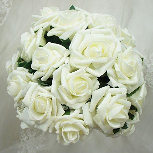 Lily Garden Foam Roses Bouquets, 2 Dozen, Cream White