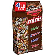 SNICKERS, TWIX, MILKY WAY & 3 MUSKETEERS Minis Size Chocolate Halloween Candy Bars Variety Mix, 4-Pound 240-Piece Bag