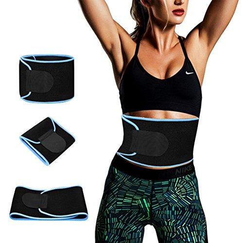 YOMYM Premium Weight Loss Ab Belt - Workout Waist Trimmer Adjustable Fat Burner Stomach Wrap Swear Enhancer Sauna Waist Trainer Belt for Women and Men Sweet Abdominal Muscle and Back Support by YOMYM