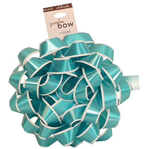 JAM Paper® Gift Bows - Medium - 5 1/2'' Diameter - Blue with White Edge - 100/pack by JAM Paper