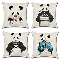 Goldy&Wendy Panda Throw Pillow Case Cushion Cover Animal 18x18 Cotton Linen
