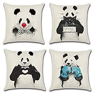 Goldy&Wendy Panda Throw Pillow Case Cushion Cover Animal 18x18 Cotton Linen