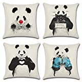 Goldy&Wendy Pillow Case Decorative Sofa Cushion 18x18 Inch Panda, 4 Pack