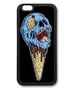 iCustomonline Custom Ice Cream Skull TPU Black Back Cover Soft Case for iPhone 4 4s
