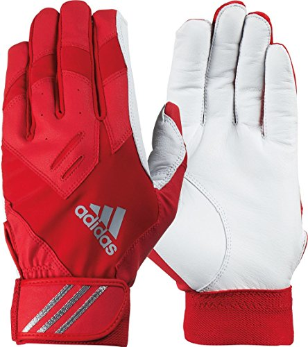 adidas Adult Trilogy Batting Gloves, (Red 1, ()