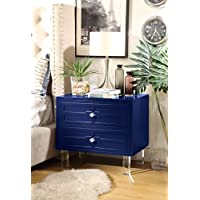 Inspired Home Donatello Modern Glossy Lacquer-Finish Side Table / Accent Table / Nightstand with Lucite Acrylic Legs and Handle, Navy