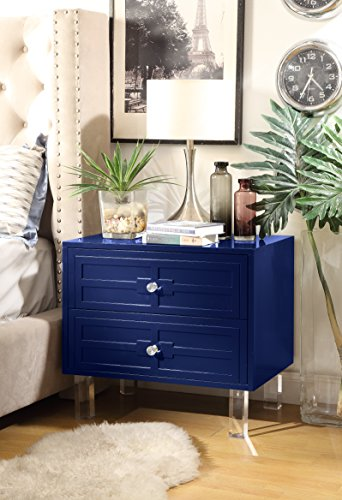 Inspired Home Donatello Modern Glossy Lacquer-Finish Side Table / Accent Table / Nightstand with Lucite Acrylic Legs and Handle, Navy (Blue Lucite Chairs)