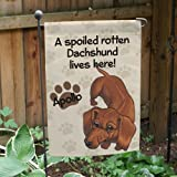 Cheap GiftsForYouNow Personalized Dachshund Spoiled Here Double Sided Garden Flag, Polyester