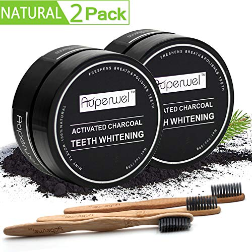 Teeth Whitening (2 Pack)- Auperwel Activated Charcoal Toothpaste Teeth Whitening Powder with 3 Bristles Bamboo Toothbrushes (Teeth whitening) (teeth -