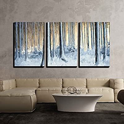 Beautiful Portrait, With a Professional Touch, Oil Painting Snowy Trees in The Winter Forest x3 Panels