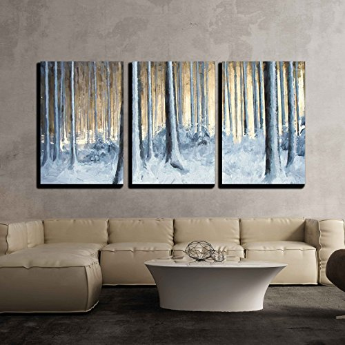 wall26 - 3 Piece Canvas Wall Art - Oil Painting Snowy Trees in The Winter Forest - Modern Home Decor Stretched and Framed Ready to Hang - 24