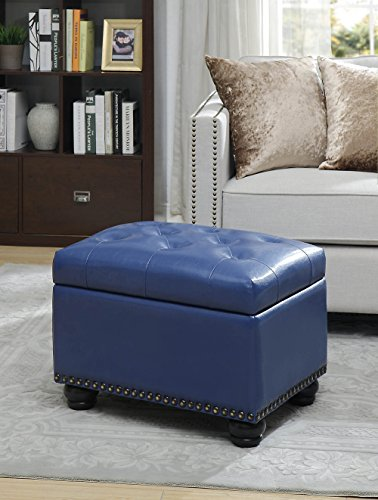(Convenience Concepts 163010BE Designs4Comfort 5th Avenue Storage Ottoman Blue PU)