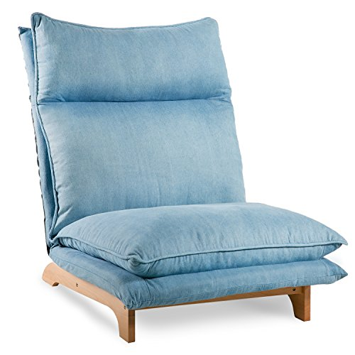 Harper & Bright Designs Adjustable Folding Sofa Lounge Sofa Chair Floor Lazy Sofa (Blue)