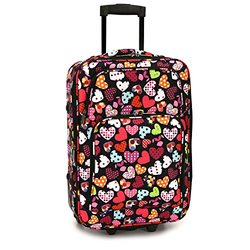 Elite Luggage Love Hearts Carry-on Rolling, Multi-Color