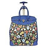 Graphic Kids Artwork Design Carry On Rolling Foldable Laptop Tote, Softside Farm Fruits Plants Food Popsicle Motif, Multi Compartment, Fashionable, Checkpoint Friendly Soft Travel Bag, Blue, Size 14''