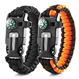 X-Plore Gear Emergency Paracord Bracelets | Set Of 2| The ULTIMATE Tactical Survival Gear| Flint Fire Starter, Whistle, Compass & Scraper/Knife| BEST Wilderness Survival-Kit -- Black(K)/Orange(K)