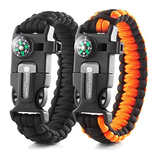 X-Plore Gear Emergency Paracord Bracelets | Set Of 2| The ULTIMATE Tactical Survival Gear| Flint Fire Starter, Whistle, Compass & Scraper | BEST Wilderness Survival-Kit - Black(K)/Orange(K)
