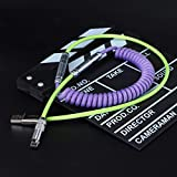 Custom Coiled Type C USB Cable for Mechanical Keyboard XLR Connector Spiral Paracord 80cm Advanced Version (Green-Purple…