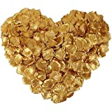 Rose Petals 1000pcs Silk Artificial Fabric Flower for Valentine Ceremony Wedding or Home Hotel Garden Bouquet Party Decorations (Gold)